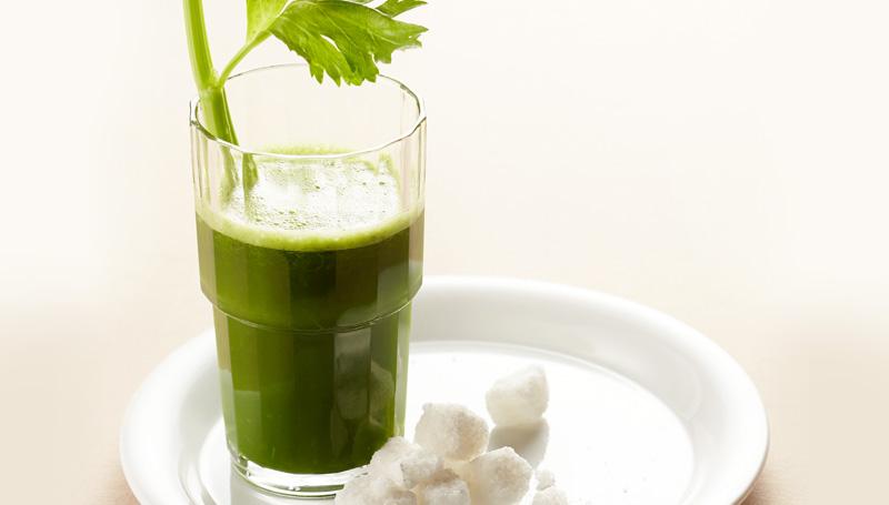 Kale Celery Pineapple Juice in a Glass