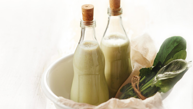 Banana Spinach Soymilk Juice in a Bottle